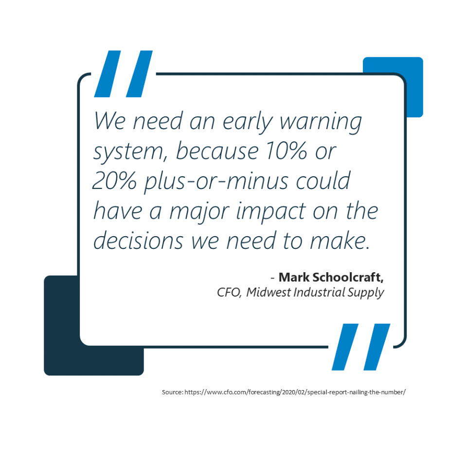 """We need an early warning system, because 10% or 20% plus-or-minus could have a major impact on the decisions we need to make"" - Mark Schoolcraft, CFO Midwest Industrial Supply"