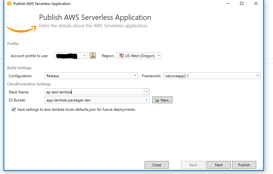 screenshot publish aws serverless application