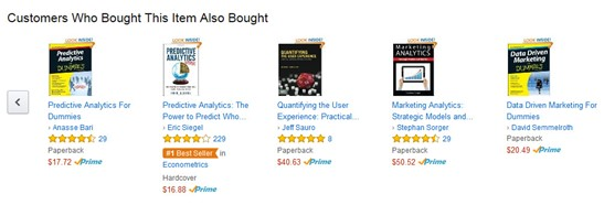 Screenshot of Amazon product recommendations