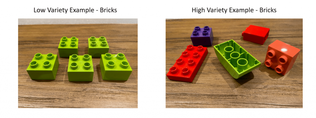 low vs high variety image examples of legos