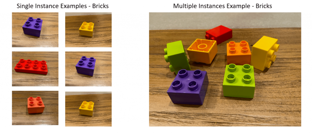 single vs multiple instance examples of lego block images