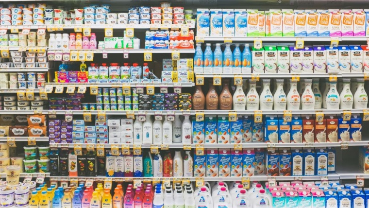 dairy products on shelf