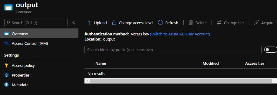 clean up output azure blob area screenshot