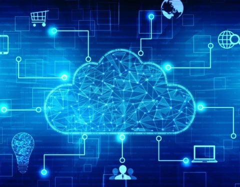 cloud with connected devices blue background