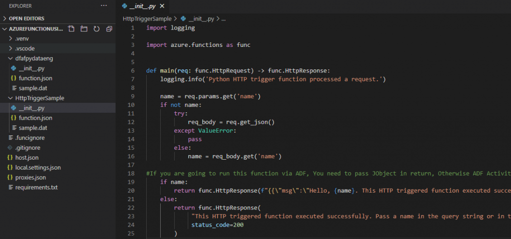 screenshot example Azure function adding logic to _init_.py