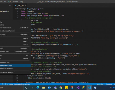 test and deploy function screenshot