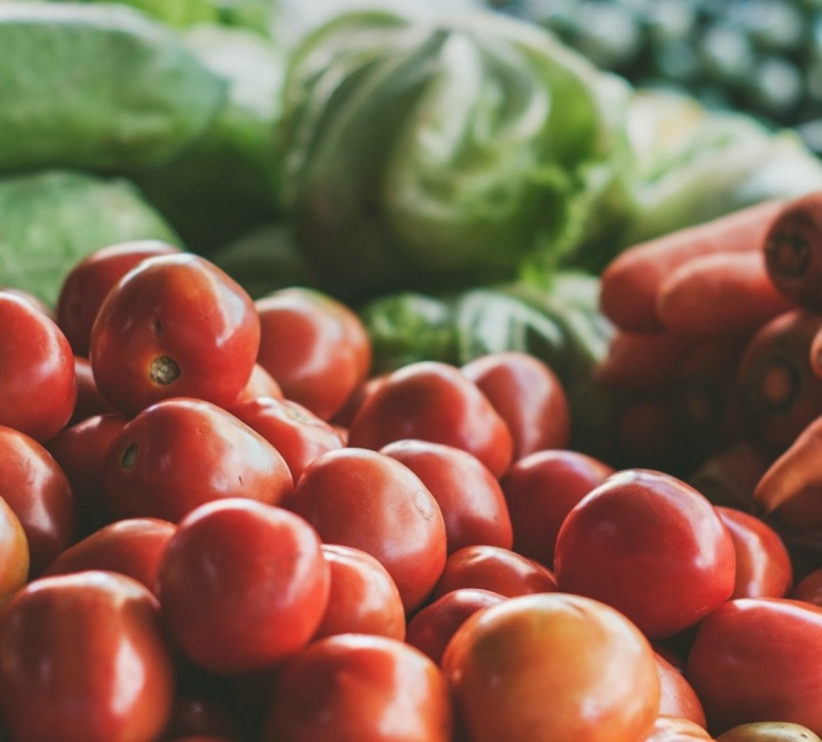 fresh produce and vegetables at market