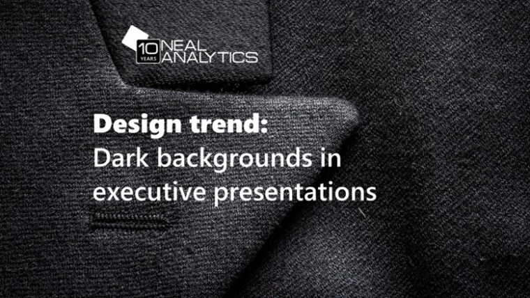 """Text """"Design trend: dark backgrounds in executive presentations"""" on black fabric"""