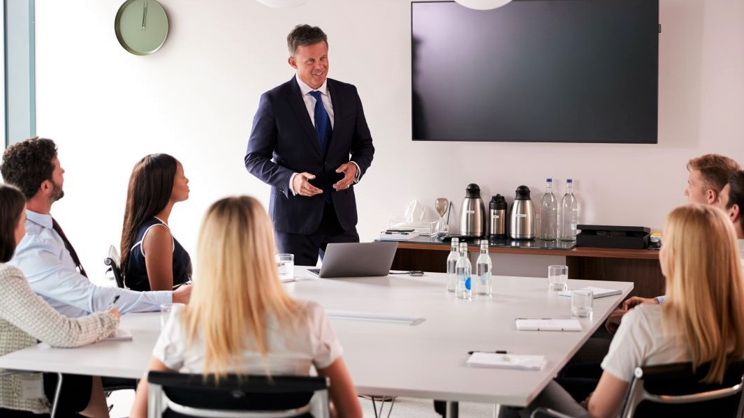 businessman presenting to clients